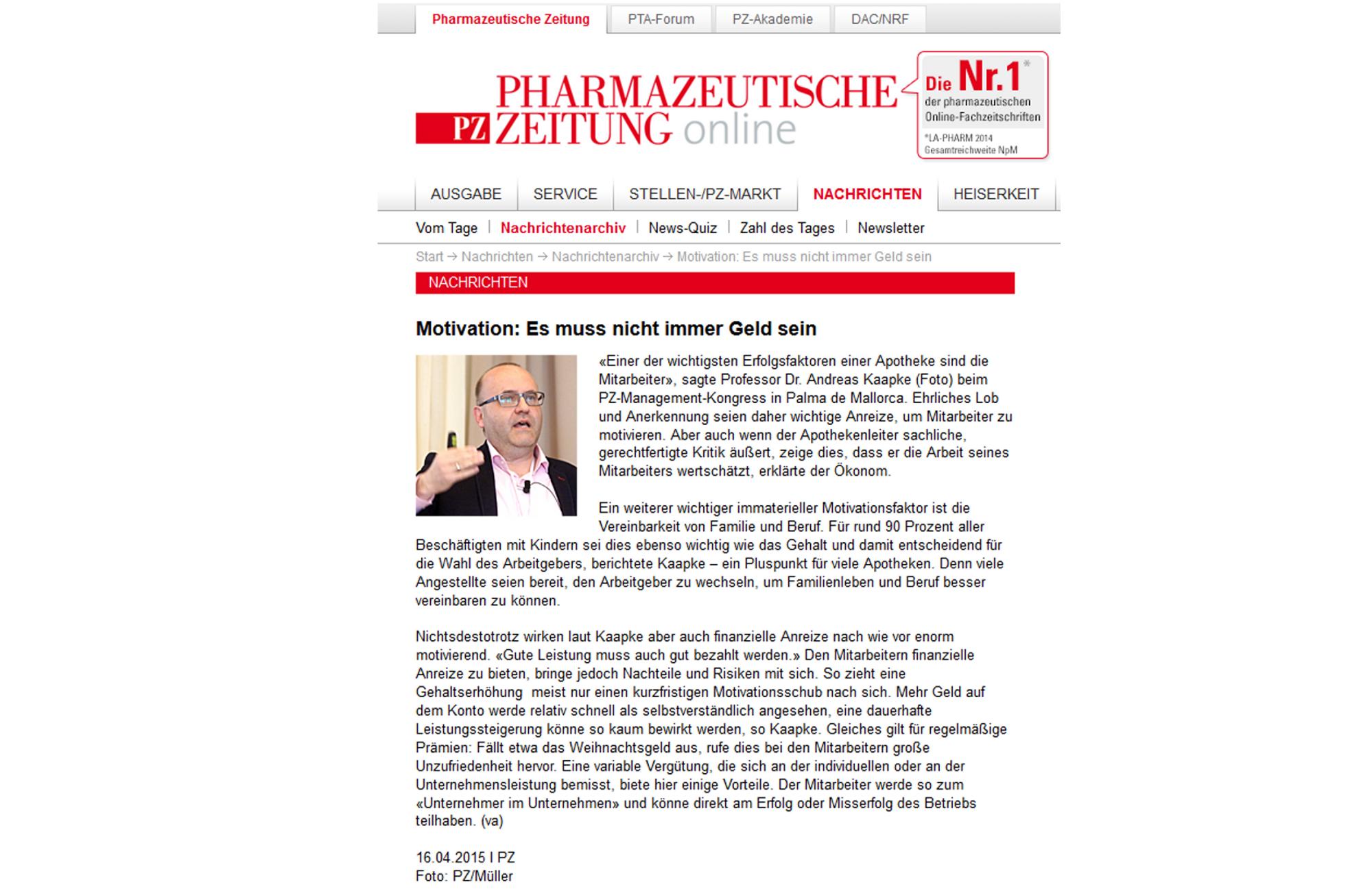 PZ Managementkongress_Berichterstattung_Pharmazeutische Zeitung_Es_muss_nicht_immer_Geld_sein